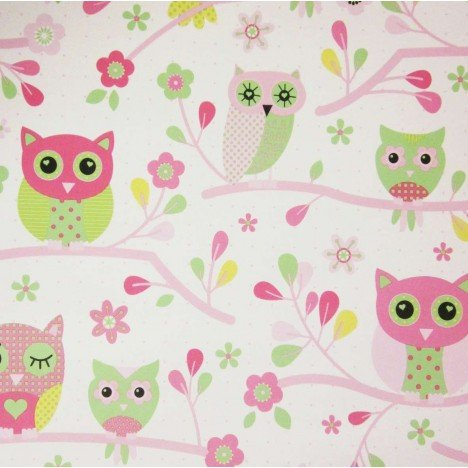 DEBONA MY ROOM OWLS BIRDS TREE BRANCHES FLORAL FOREST PRINT CHILDRENS WALLPAPER (PINK 6327)