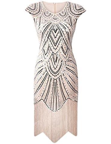 PrettyGuide Femmes 1920 Gatsby Diamant Paillette Agrémentée Frange Sparkly Garçonne Robe beige de luxe S