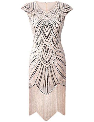 PrettyGuide Damen 1920er Gastby Diamant Pailletten Verschönert Mit Fransen Flapper Kleid Luxus beige XS