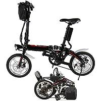 chigant 14 pulgadas Rueda de bicicleta eléctrica, Mini E-Bike Mountain Bike Bicicleta plegable negro City, 36 V/250 W batería de iones de litio recargable, ...