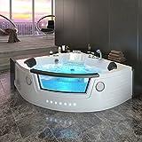 Serina Baignoire d'angle balnéo pour 2personnes, chauffante, baignoire de luxe