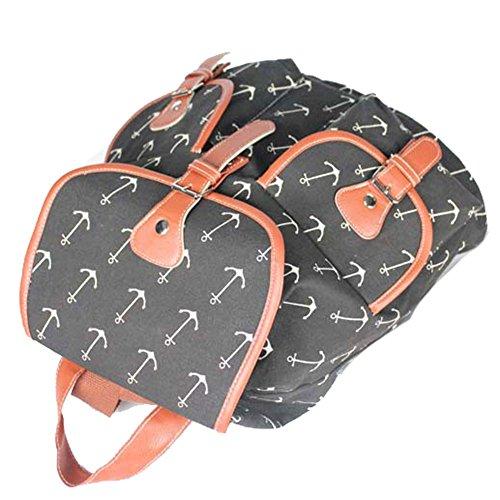 Sammua Blumen Blumensegeltuch Rucksack mit Kordelzug Lederschnallen Schultasche Schulter Daypack für Mädchen - D C