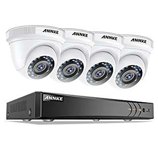 ANNKE 4CH 1080P HD-TVI Surveillance DVR Recorder w/ 4x 2.0MP Weatherproof Dome Camera, Home Security System HD Over Analog/BNC, Smart Email Alert, Zero-channel Technology, No HDD