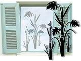 Fenstertattoo selbstklebend ~ Palme, Bambus, Baum, Strauch ~ glas054-35x57 cm 600019 Aufkleber für Fenster, Glastür und Duschtür, Badezimmer Glasdekor Fensterbild, wasserfeste Glasdekorfolie in Sandstrahl - Milchglas Optik
