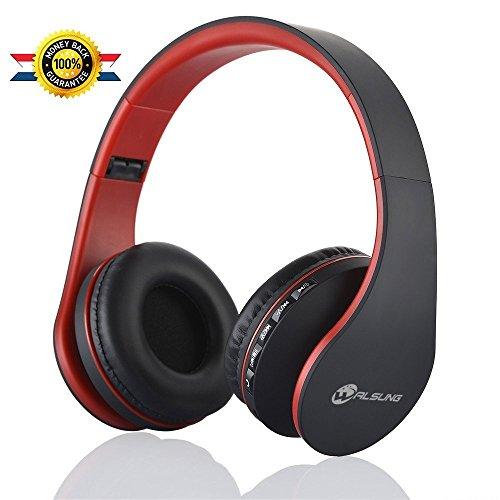 Walsung Bluetooth Kopfhörer über Ohr, Hi-Fi Stereo Wireless Headset, Faltbar, Weiche Gedächtnis-Protein-Ohrenschützer, Wireless/Eingebauter Mic and Wired Mode für PC/Handys/TV (Rot) (Ohrenschützer Position)