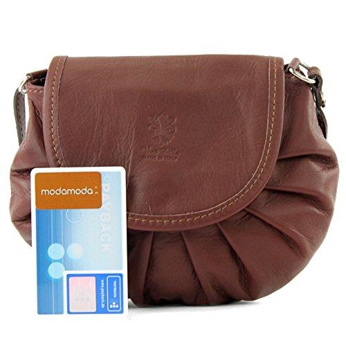 modamoda - ital. Ledertasche Umhängetasche Citytasche Girl Klein Damentasche Nappaleder Mini T129 Braun