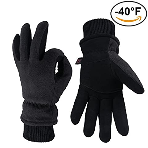 OZERO Snow Gloves, -40°F Cold Proof Winter Work Ski Glove with Elastic Cuff - Deerskin Suede Leather Palm and Polar Fleece Back with Thermal Heatlok Insulated Cotton & Waterproof TPU - Denim