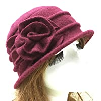 beiguoxia Trendy Bowler Hat Fashion Women Faux Wool Church Cloche Flapper Hat Lady Bucket Winter Flower Cap Clothing Accessories Wine Red