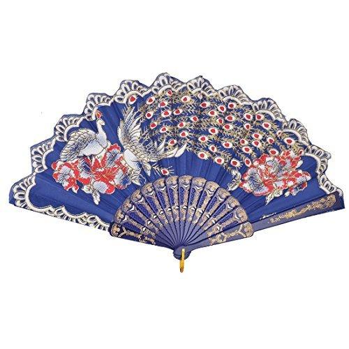 DealMux Kunststoff-Felgen-Blumen-Muster-Hochzeitsfest-chinesische Art Folding Fan Multicolor
