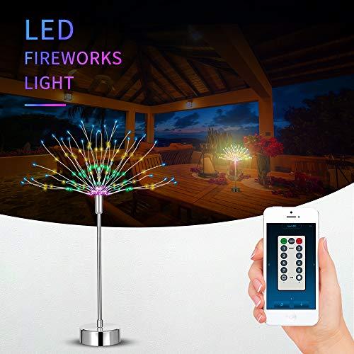 Feuerwerk Licht 120 LED Lichter Batteriebetriebene Fernbedienung in APP DIY Dekorations Lichterkette 8 Modi Lichteffekt für Indoor Outdoor Weihnachtsfeier (Warmes Weiß + Farbig 1 Stück)