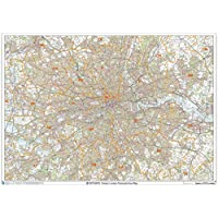 "Greater London Postcode Area Wall Map - 47"" x 33.25"" Laminated"