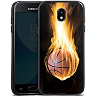 Samsung Galaxy J3 2017 Silikon Hülle Case Schutzhülle Basketball Feuer Fire