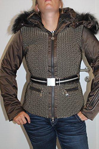 Sportalm Kitzbühel Damen Ski Jacke Powder mit Echt Pelz Olive Grün Größe 38 M Neu mit Etikett
