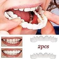 GAOWORD 2 pieces of teeth pieces fittings comfort fit white Top veneer denture for men women Oral supplies orthodontics Braces false teeth case