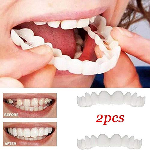 537a1d035f6281 GAOWORD 2 Stück Zahnstücke Passstücke Komfort Fit Weiß Top Furnier Prothese  für Männer Frauen Oral S
