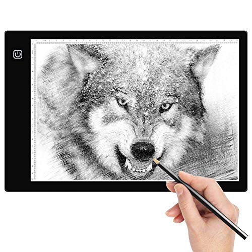 Amzdeal Tablette Lumineuse A4 avec 6 Niveaux Réglables de Luminosité LED 5mm Ultre-Mince avec Cable USB pour Croquis Esquisse Architecture Calligraphie Diamond Painting