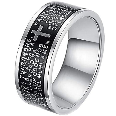 Aooaz Schmuck Herren Ring,Klassische Biker Kreuz Edelstahl Ring für Herren Silber Schwarz
