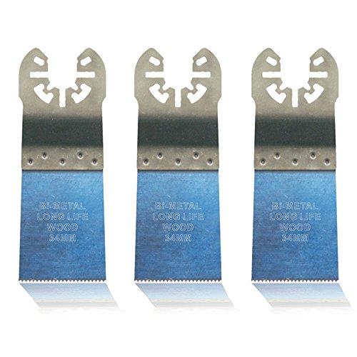 3x E-Cut Sägeblatt Holz, 34mm Extra-Long-Life Bi-Metall für Skil Multifunktionswerkzeug