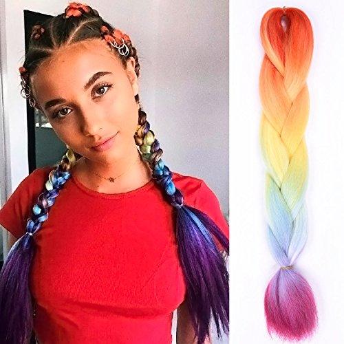 Silike - treccia di capelli di 4 colori, di grandi dimensioni (1 pezzo), 60,96 cm, extension per capelli, da donna
