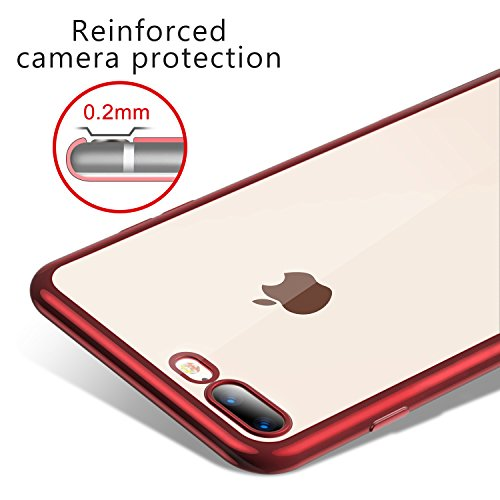 Coque iPhone 8 Plus, Coque iPhone 7 Plus, TORRAS Transparent Ultra fine Silicone Housse Étui de Protection en Doux TPU Bumper Cadre Brillant Plaqué et Clair back Case pour iPhone 8 Plus/7 Plus - Noir Rouge