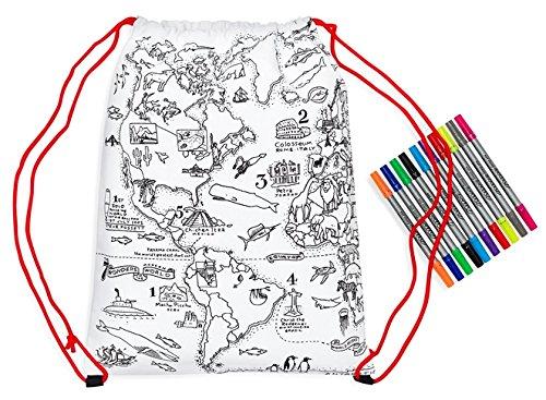 Eatsleepdoodle carte du monde Sac à dos