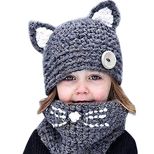 CHIC-CHIC Mädchen Mütze Tierhüte gestrickte Baby Katze Schal Beanie Strickmütze mit Knopf Niedlich Poncho für Herbst-Winter -