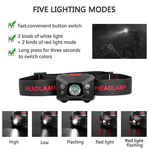 Stirnlampe LED, USB Wiederaufladbare Kopflampe Wasserdicht Leichtgewichts stirnlampen Perfekt fürs Joggen, Laufen Campen Angelnund Radfahren, für Kinder und mehr - 4