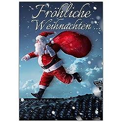 A4 XXL Weihnachtskarte WEIHNACHTSMANN mit Umschlag - edle Klappkarte für Kollegen Freunde Verwandte - Fröhliche Weihnachten Karte von BREITENWERK