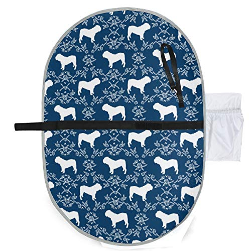 Urine pad Portable Diaper Changing Mat,English Bulldog Floral Silhouette Pattern Navy Mattress Sheet Protector Pee Pads Urine Mat for Baby