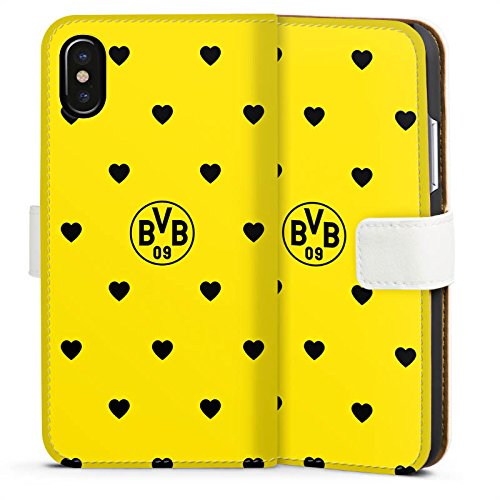 Apple iPhone X Silikon Hülle Case Schutzhülle Borussia Dortmund BVB Herzen Sideflip Tasche weiß