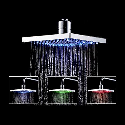 Auralum® Soffione doccia a LED quadrato, pannello doccia led/doccia soffione per bagno in ABS di (Pioggia In Testa La Doccia Pannello)
