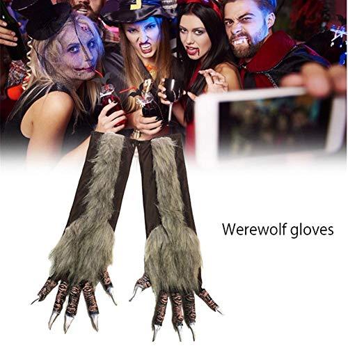 Kostüm Werwolf Handschuhe - Chirsemey Halloween Werwolf Ghost Handschuhe Langes Haar Beast Handschuhe Simulation Wolf Handschuhe Schwarzer Wolf Handschuhe Für Bar Dance Party Cosplay Halloween Party Kostüm Dekorationen