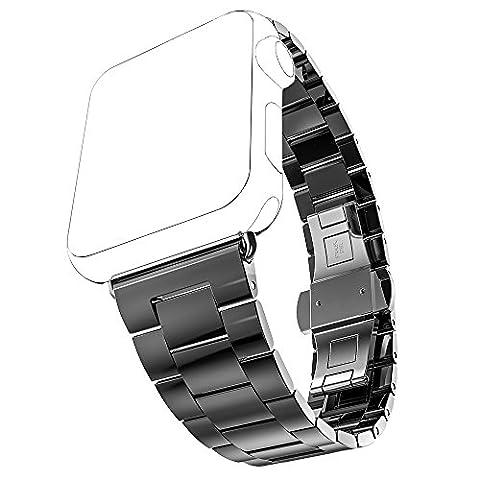 Apple Watch Bandes,PUGO TOP Ultra Fine en Acier Inoxydable Slim Fit Bracelet pour Apple Watch Series1/Series 2-42mm,noir