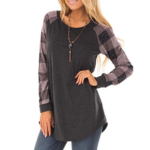 Btruely Damen Bluse Langarm Elegant Casual Rundhals Langarmshirt Hemd Slim T-Shirt Oberteil Shirt Sommer Tops Frühling Pullover (S, Grau) (Baggy Leather Knit)