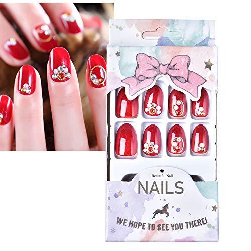 24 Stück falsche Nagelspitzen, falsche künstliche Nägel, kurz, französischer Stil, mit Klebstoff, für Nail Art Dekoration (2#)