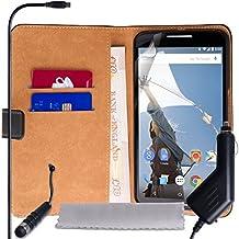 Funda de auténtica Motorola nexo 6 piel sintética con puntero capacitivo Mini y cargador para coche-cargador