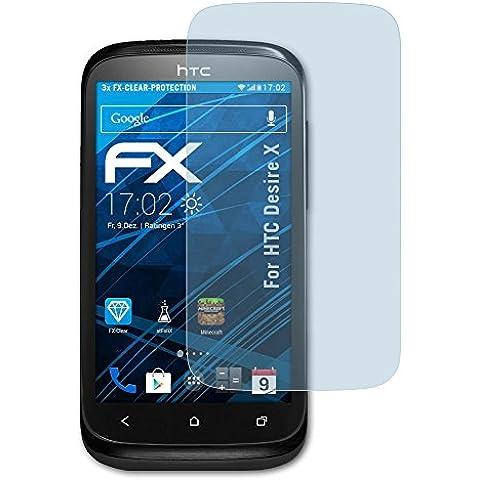 atFoliX FX-Clear - Protectores de pantalla antirreflectantes para HTC Desire X (3 unidades),