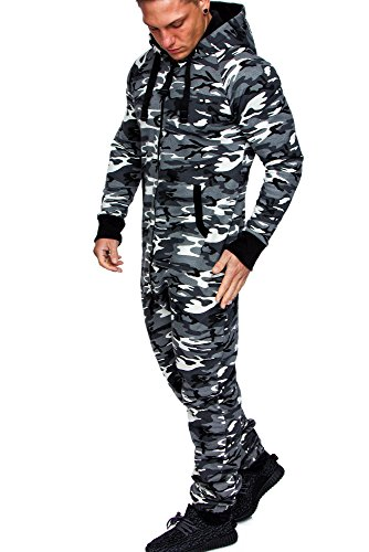 Amaci&Sons Herren Overall Jumpsuit Jogging Onesie Trainingsanzug Camouflage 3001