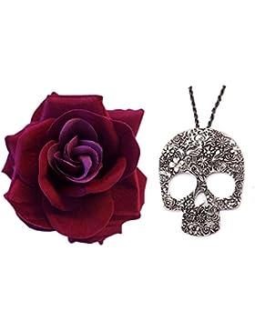 Día Del De Muerto Gótico Oscuro Rojo La Rosa + Largo Grande Del Cráneo Collar