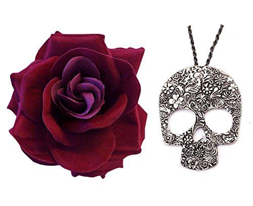 Tag Der Toten Gotisch Dunkel Rote Rose + Lange Großes Skelett Anhänger (Toten Der Halloween Kostüm Tag)