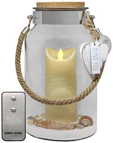 Dekovita Geschenkidee 30cm Dekoglas 18cm LED-Kerze Weiß Fernbedienung Liebe Muttertag Baby Geburt Geburtstag Zimmer-Deko