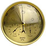 Yardwe Precision Aneroid 3 in 1 Barometer Weather Station Barometer Thermometer Hygrometer for Indoor and Outdoor Use with Stainless Steel Frame (Yellow)