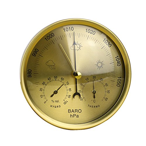 OUNONA Präzision Aneroid-Barometer Wetterstation 3in 1Barometer Thermometer Hygrometer für Innen- und Außeneinsatz mit Edelstahl Rahmen (Gelb) Goldfarben