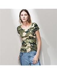 Heart&M de las mujeres de cuello redondo manga corta Casual 3D camuflaje del bloque del color camiseta de algodón Tops . army green . xl