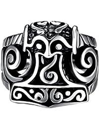 Ocamo Men Boys' Fashion Jewelry Non Fading 316L Titanium Steel Retro Pattern Wide Ring