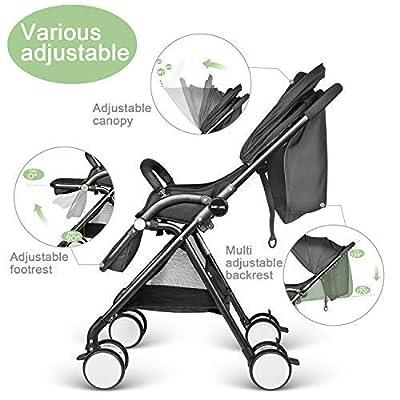 Leicht Buggy Kinderwagen Babybuggy mit Liegeposition Einhand Klappbar - schwarz
