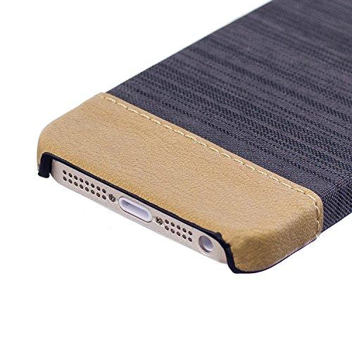 Apple iPhone 5 5G 5S SE hülle, Voguecase Hybrid Hülle Koffer Schutzhülle Handyhülle Schutz vor Stürzen und Stößen Schutzhülle für iPhone 5 5G 5S SE Case Cover (Leinen Stab Leder-Grau) + Gratis Univers Leinen Stab Leder-Braun