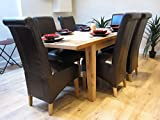 Solid Oak Extending Dining Table with 6 Kelsey Brown Leather Chairs Dining Set