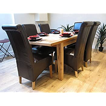 Solid Oak Extending Dining Table And Six Kelsey Leather Chairs With Legs Set