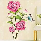 ufengke® Rosa Rosen und Schmetterling Wandsticker, Wohnzimmer Schlafzimmer Entfernbare Wandtattoos Wandbilder